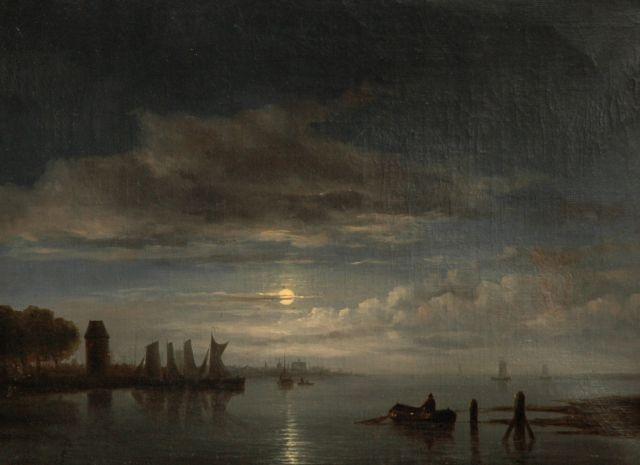 Immerzeel C.  | Aangemeerde zeilschepen bij maanlicht, olieverf op doek 46,8 x 62,4 cm, gesigneerd l.o.