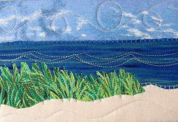 Fabric Postcard, Coastal Beach Quilted Art