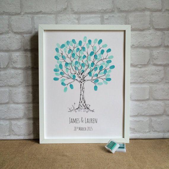 Wedding Fingerprint Tree UNFRAMED by LittleThimbleGifts on Etsy