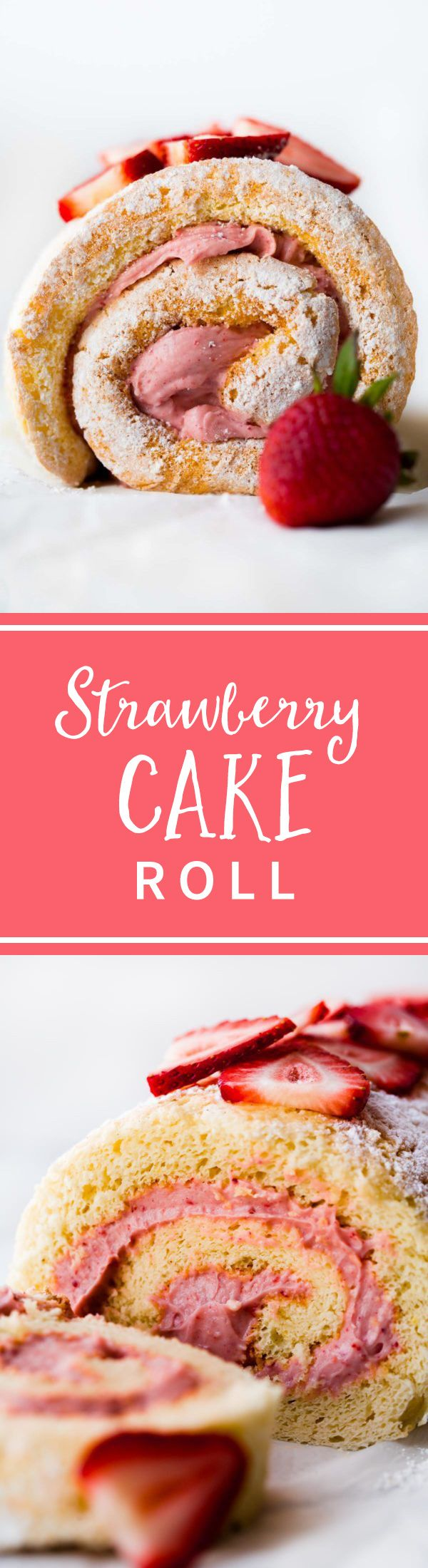 LOVING this light and fluffy strawberries 'n' cream cake roll! Sponge jelly roll cake with delicious strawberry cream filling.
