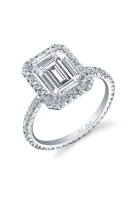 Brides.com: . Emerald-cut halo engagement ring, price upon request, Neil Lane