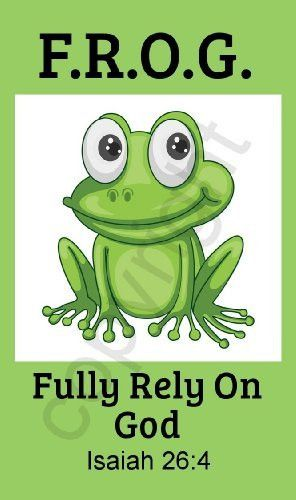 Green Fully Rely on God Frog F.R.O.G. Pocket Prayer Cards Isaiah 26:4 (50 Count)