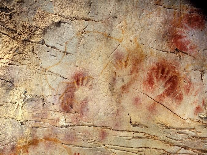 The ''Panel of Hands'' in El Castillo Cave, Spain.