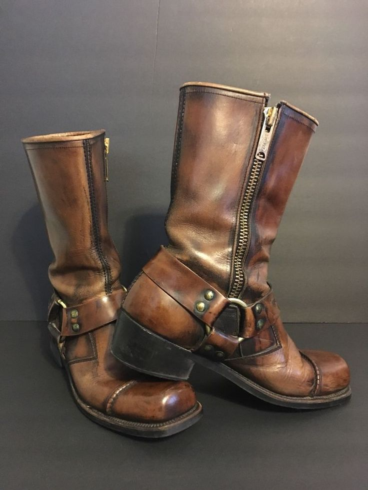 Frye Harness Boots 1960s Vintage Brown Distressed Motorcycle Mens 8.5D Urban Hip #Frye #Motorcycle