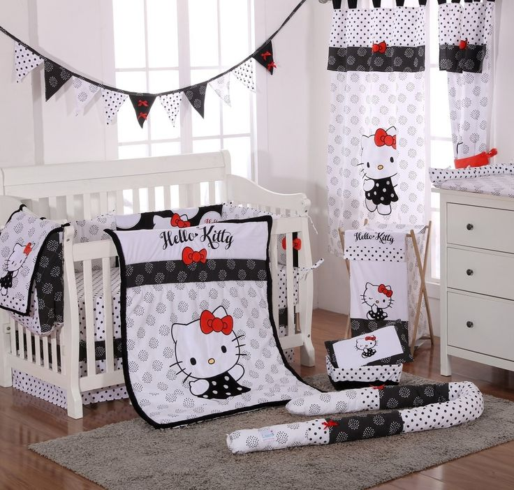 Hello Kitty Black Baby Bedding 4 Piece Crib Bedding Set