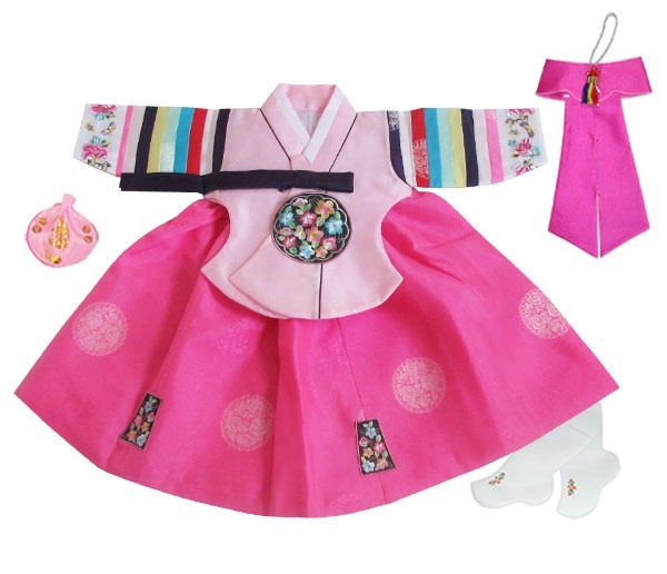 Girl's First BIrthday Hanbok Pink Palace Style $124.99