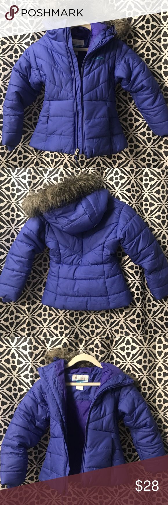 Girls Columbia down Jacket Girls Columbia puffer Jacket. Fur edged hoodie and tapered at the waist for such a cute fit! Worn 2 times...Maybe! EUC Columbia Jackets & Coats Puffers
