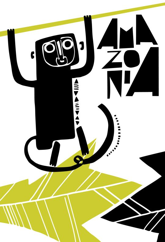 Monkey from Manaus, city in the middle of the Amazon Jungle – illustration by Basia Grzybowska