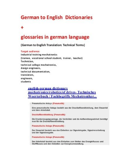 technical manual + sentence translator: german-english dictionary/ glossary robotics mechatronics