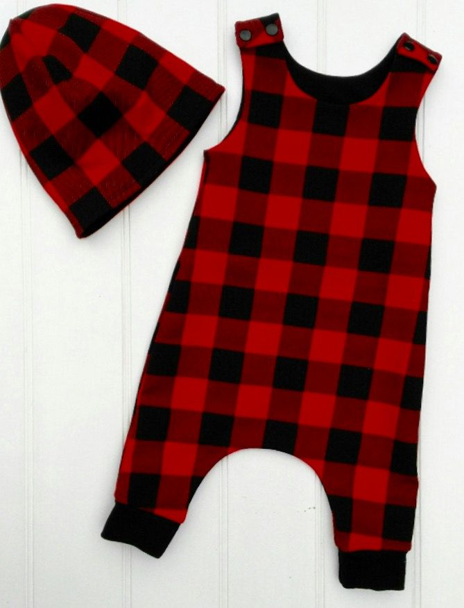 Lumberjack Baby Romper, Red Toddlers Harem Romper, Kids Dungarees, Jersey overall, Kids Dungarees by BespokeKidsClothing on Etsy