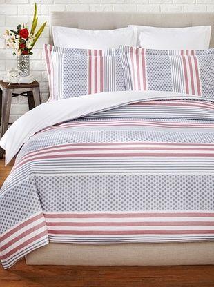 65% OFF OYO Bedding Mariza Duvet Set (White/Navy/Red)