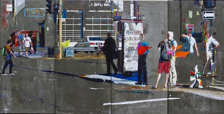"""La fleur qui marche""  Acrylic resin and cement on canvas.  120x240cm   By Arnaud Liard"