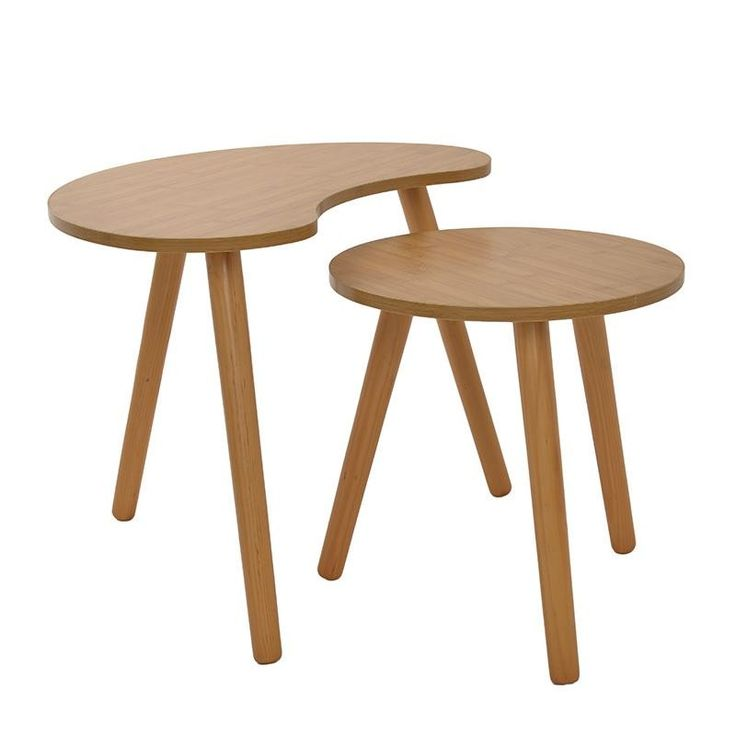 S/2 WOODEN SIDE TABLE IN BROWN COLOR 57X39X45