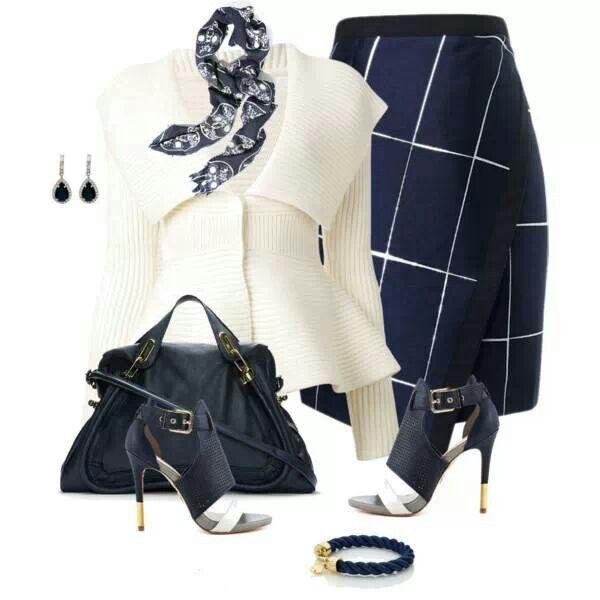 Navy w/ White Pinstripe Skirt & White Sweater Jacket