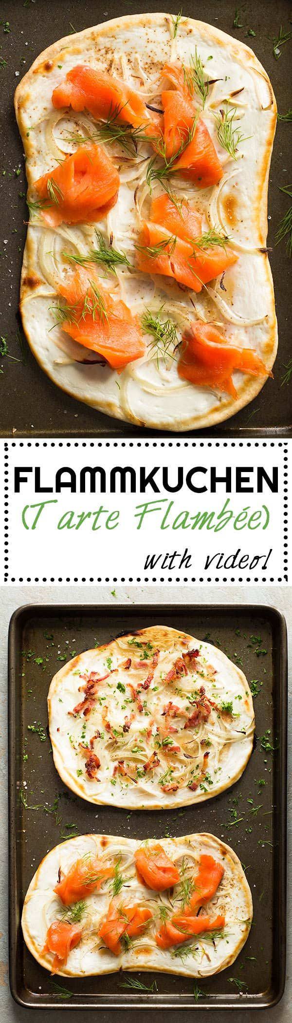 Flammkuchen a.k.a. Tarte Flambée, a.k.a. German Pizza, a.k.a French Pizza. Call it what you want, one thing is for sure, it is BEYOND DELICIOUS! via @Green Healthy Cooking