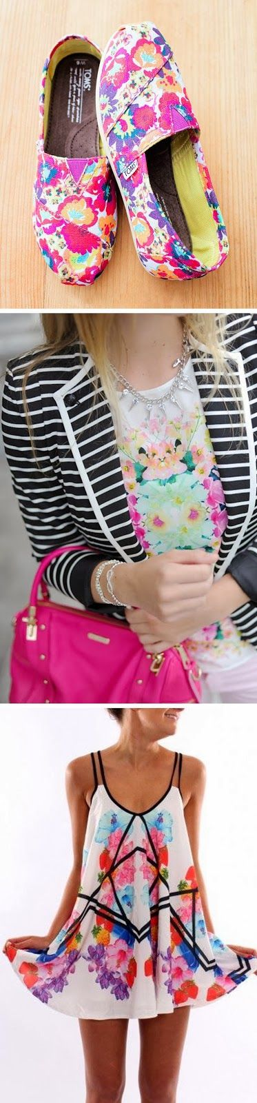 Floral TOMS   //   Striped Blazer + Floral Top   //   Floral Dress