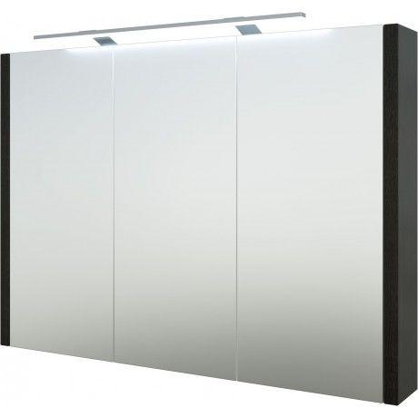 Albero Design Trento Spiegelschrank Mit LED Aufsteckleuchte, Eiche Schwarz    90 X 65cm