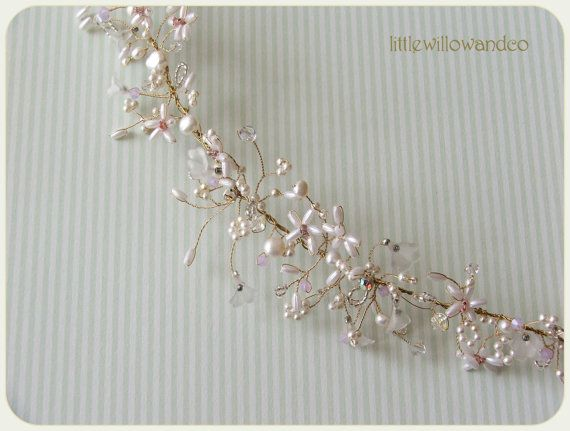 Isabelle Pearl Bridal Headdress Bohemian Halo by LittleWillowandCo