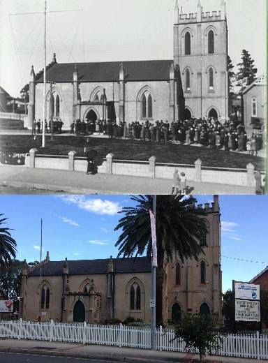 St Stephens Anglican Church, High Street, Penrith in 1934 and 2015. [1934 - Penrith City Council>2015-Phil Harvey. By Phil Harvey]