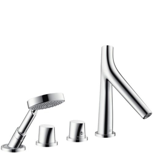 Contemporary Art Websites Hansgrohe Chrome Axor Starck Organic Deck Mounted Roman Tub Faucet Trim with Metal Knob Handles and Built In Diverter