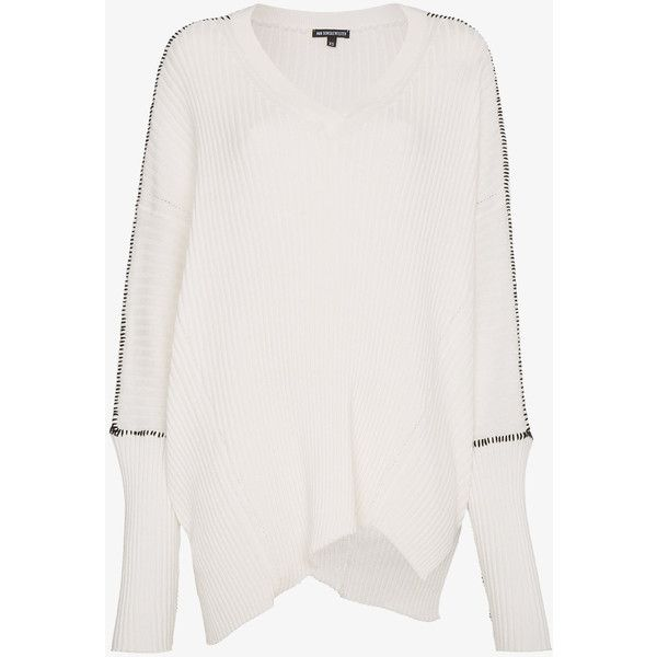 Ann Demeulemeester Ribbed Cashmere Slouchy Sweater (1,215 CAD) ❤ liked on Polyvore featuring tops, sweaters, white, ribbed sweater, ribbed v neck sweater, slouchy v neck sweater, white top and ribbed cashmere sweater