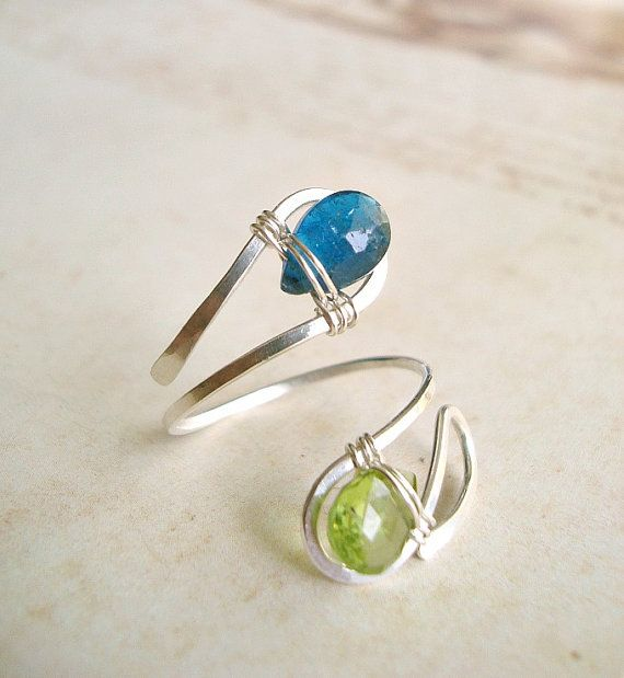 Peridot Apatite Wire Ring Wire Wrapped by BellaAnelaJewelry, $37.00