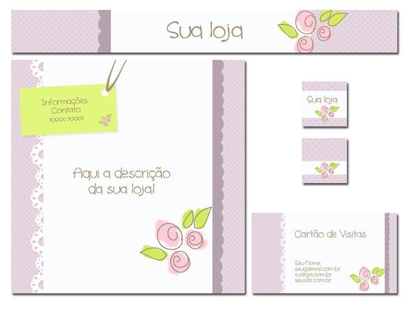 Kit para personalização de loja elo7, contendo:  1 banner; 1 fachada; 1 mini logo 90 x90 pixels; 1 capa para albuns; 1 arte para cartão de visitas (arquivo enviado no formato JPEG, ou ainda PDF). Instalação, se necessária. R$50,00