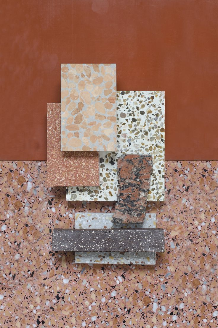Material Mood Of The Week ~ Terracotta Shades & Warm Sand. The speckled quartz with the mediterranean colour palette work as inspiration for your bathroom or kitchen spaces.