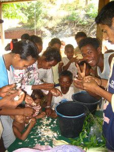 A organic gardening training on making and using natural pesticides with Permatil near Behedan