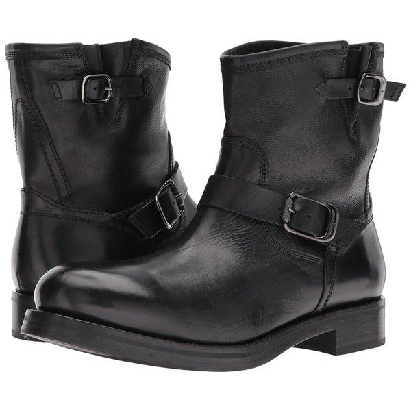 Frye Carter Engineer (Black Tumbled Waxed Calf) Men's Pull-on Boots (500 AUD) ❤ liked on Polyvore featuring men's fashion, men's shoes, men's boots, men's work boots, mens buckle boots, mens leather work boots, mens work boots, mens black boots and mens black work boots