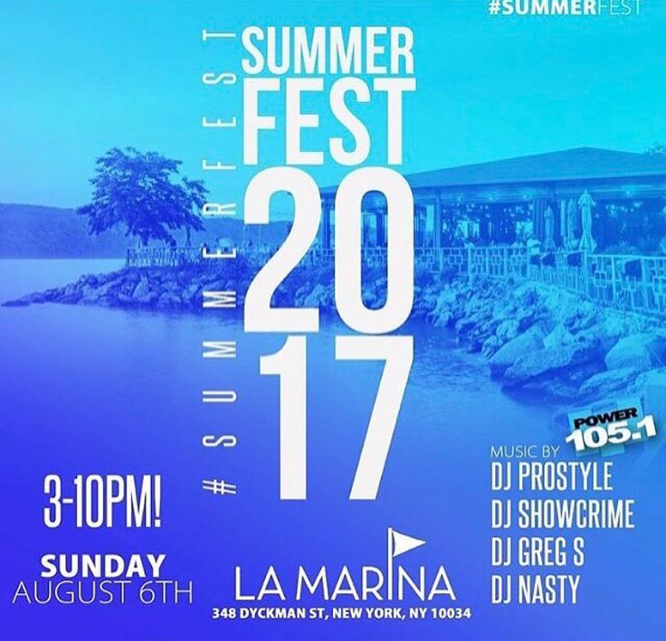 THIS SUNDAY Join us for #SummerFest @lamarinanyc  —  Hosted by @mrcommodore #MrCommodore  Music by @prostyle @djshowcrime @itsanastyworld @greg.es  Doors Open From 3pm - 10pm Tickets are almost sold out  ! Early bird tixs on sale now !! ONLY