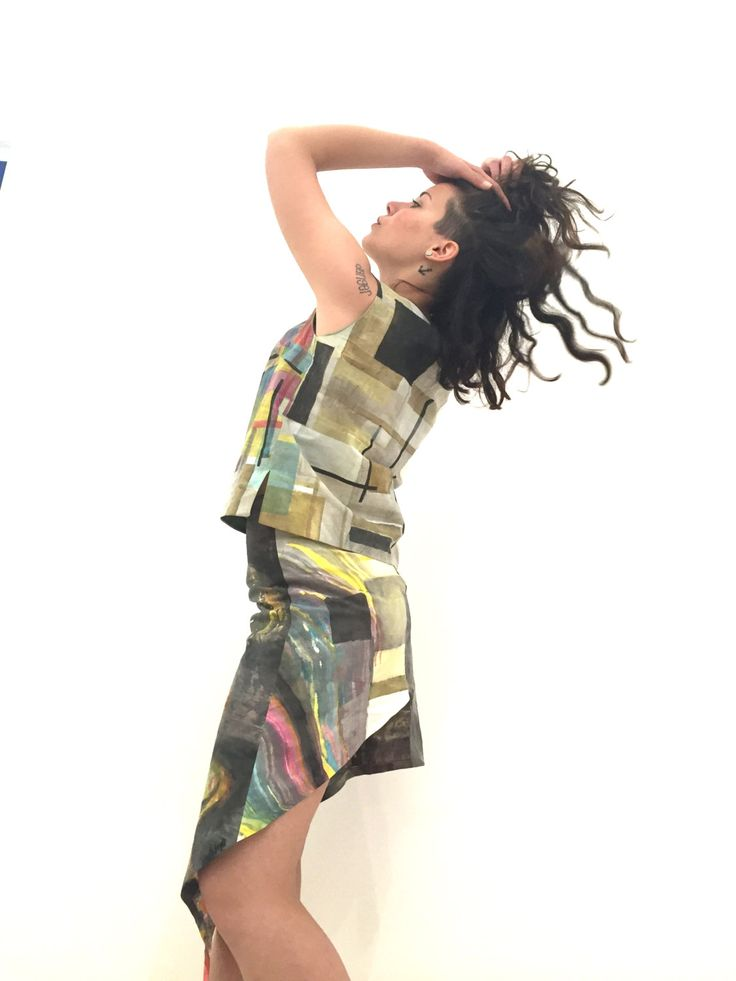 Painted Cotton Asymmetric Skirt by Artist A LUGLI Artwork Cloth LOLA DARLING Multicolor Art Painting Tissue Color Unique Piece Author Signed di loladarlingirl su Etsy