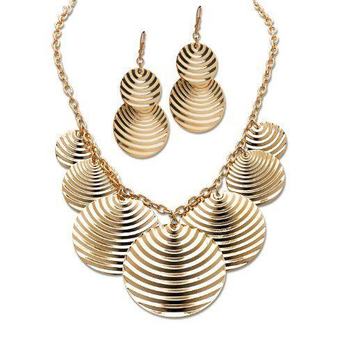 PalmBeach Jewelry Goldtone Metal Multi-Disk Necklace and Pierced Earring Set Toscana. $34.99