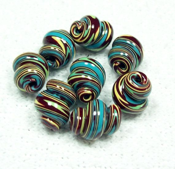 Spiral Handmade Polymer Clay Beads by BarbiesBest on Etsy, $10.00