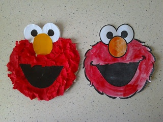 Elmo from tissue paper