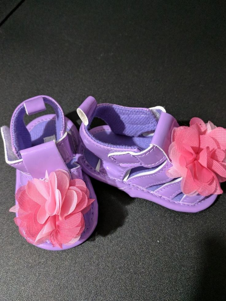 Baby infant girl Laura Ashley size 2 purple sandals pink flower NEW #LauraAshley