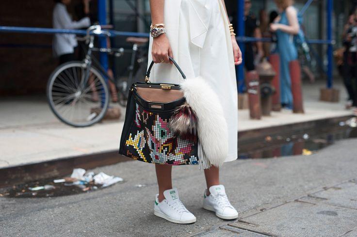 SS16 streetstyyle detail  long white skirt  low-top shell-toe sneaker braclets  huge bag