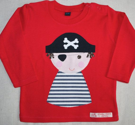 Boys long sleeve pirate applique t shirt Red