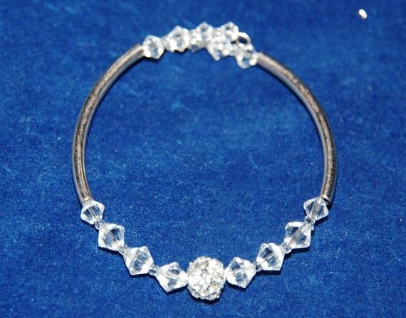 Finally a cute yet also affordable bracelet - Swarovski crystal bracelet  Rhinestone Silver and Clear Crystal by Tazzmck