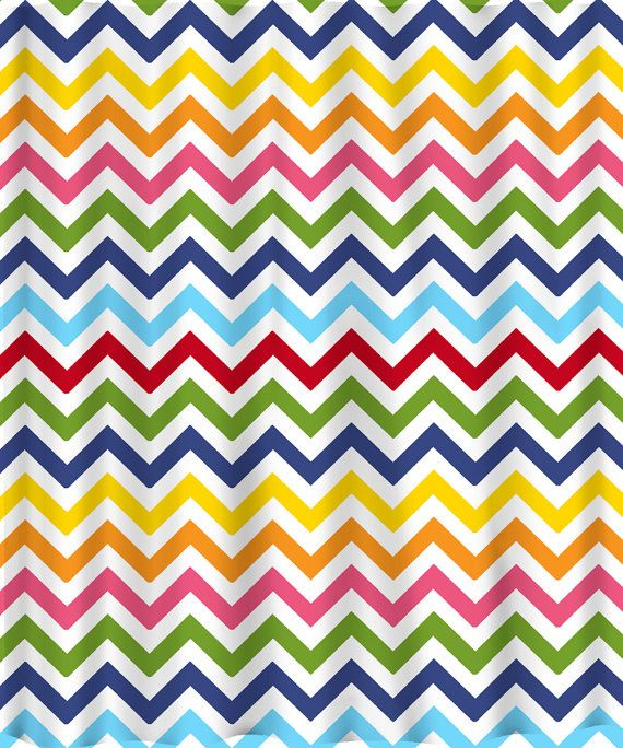 Shower Curtain Rainbow Chevron Any Colors Of Your