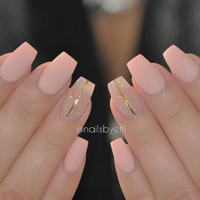 Matte pink with glitter and gold stripes Nail Design, Nail Art, Nail Salon, Irvine, Newport Beach