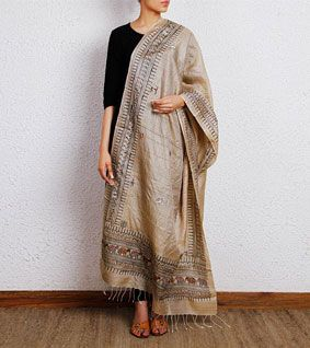 Beige Tussar Silk Dupatta with Tribal Art