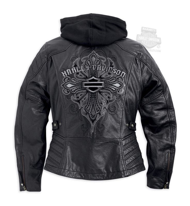 Harley-Davidson® Womens Alexis Tribal Cross B&S 3-in-1 Black Leather Jacket 97038-15VW