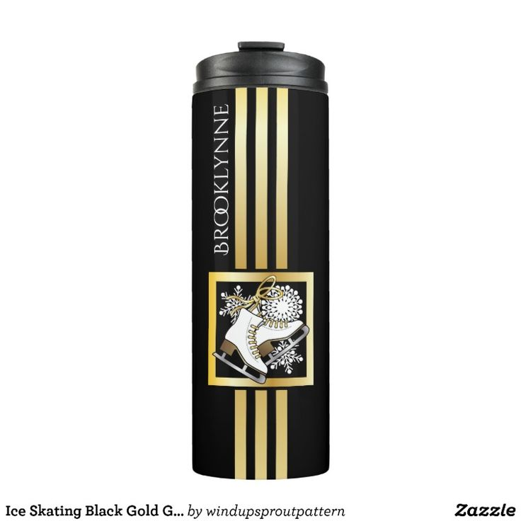 Original Design Ice Skating Black Gold Thermal Tumbler #originaldesign #iceskates #figureskating #unique #personalized #gift #giftideas