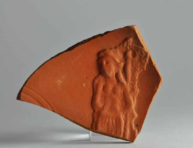 Damnatio ad bestias, african red slip ware sherd with damnatio ad bestias. Private collection