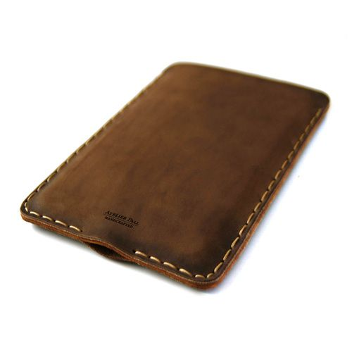 Leather iPad Double Sleeve in Brown