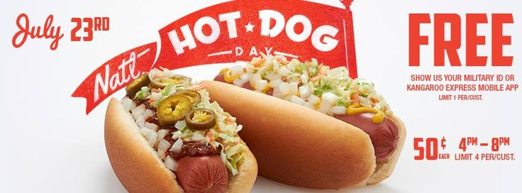 Free Hot Dog at Kangaroo Express today 7/23/14