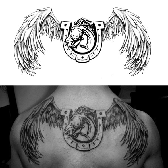 Horse Shoe Wings Tattoo Ideas Tattoos Memorial