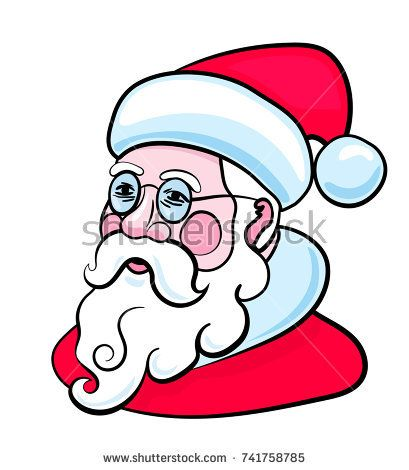 Santa Claus character portrait. Vector Illustration.