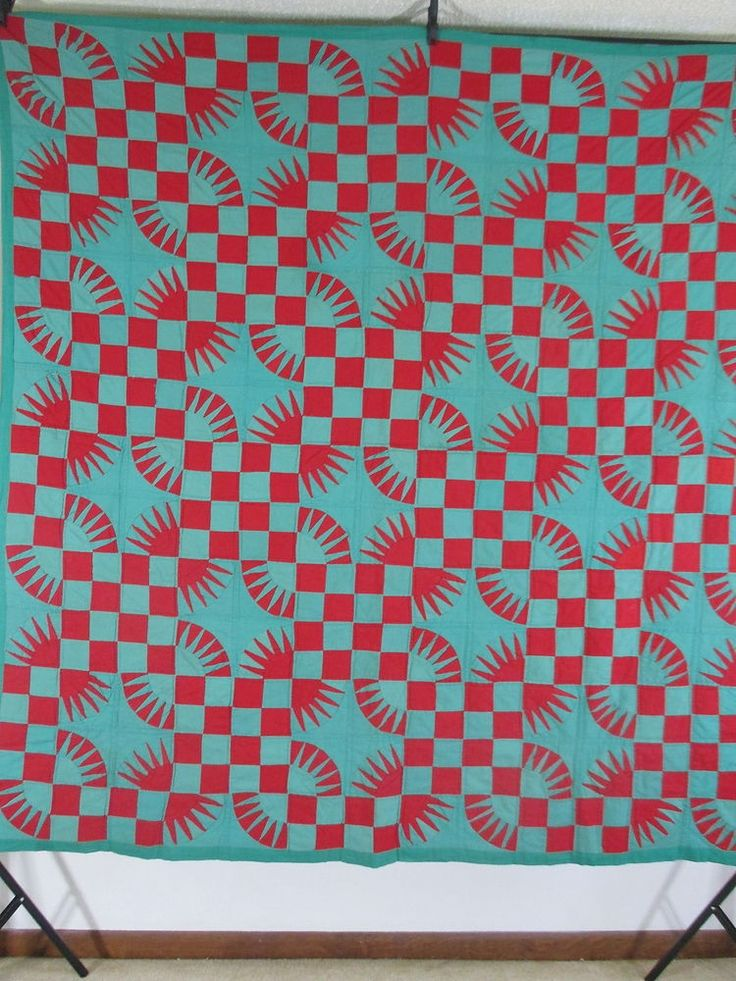 US $695.00 Used in Collectibles, Linens & Textiles (1930-Now), Quilts Vintage Antique Handmade Quilt New York Beauty Variation Turkey Red & Olive Green 19Th Century